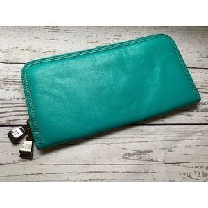BCBG large turquoise leather clutch